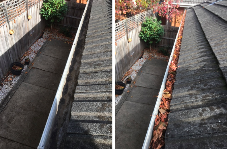 before and after gutter cleaning - gallant plumbing